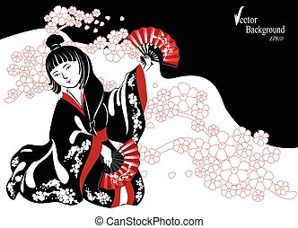 A Japanese woman in a black kimono plays on shamisen in...