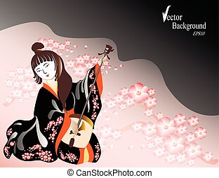 A Japanese woman in a kimono plays a national musical...