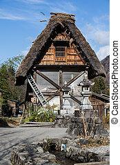 a, japoneses, antiga, cabana