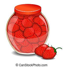 A jar of a strawberry jam