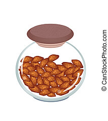 A Jar of  Almonds on White Background