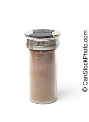 Paprika - A jar of Paprika isolated on a white backgorund