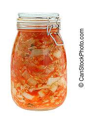 Kimchi (kimchee, gimchi) - A jar of traditional fermented...