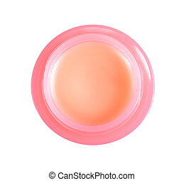 A jar with lip balm on white background