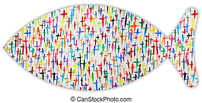 Jesus fish - A Jesus fish with colorful crosses