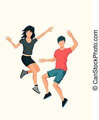 a, jeune couple, sauter, haut haut