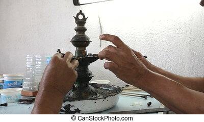 A jewellery workshop in Sri Lanka,  gem industry.