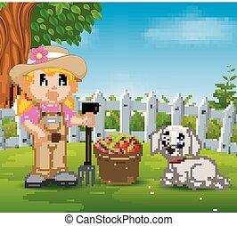 a, jovem, agricultor, perto, seu, colhido, frutas