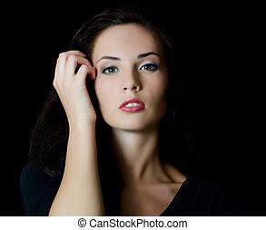 a, jovem, bonito, menina, com, um, noite, maquiagem