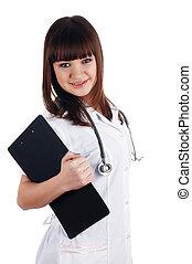 a, jovem, morena, a, charming, pessoal, enfermeira