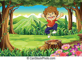 A joyful boy at the jungle