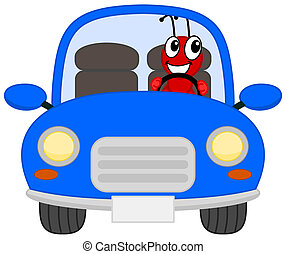 a joyous ant in a blue car