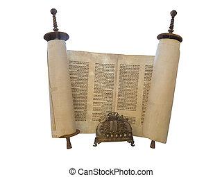 a, judeu, torah scroll, e, um, ouro, menorah, vela, apoio, isolado, sobre, branca
