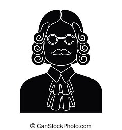 A judge in a wig and glasses. A person who makes a verdict to a criminal.Prison single icon in black style vector symbol stock illustration.