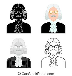 A judge in a wig and glasses. A person who makes a verdict to a criminal.Prison single icon in cartoon style vector symbol stock illustration.