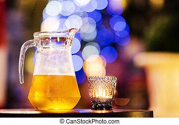 A jug of cold beer