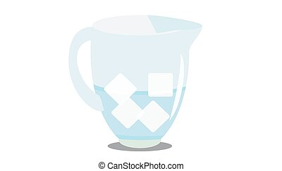 a jug of cold water with pieces of ice.