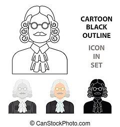 a, juge, dans, a, perruque, et, glasses., a, personne, qui, marques, a, verdict, à, a, criminal.prison, unique, icône, dans, dessin animé, style, vecteur, symbole, stockage, illustration.