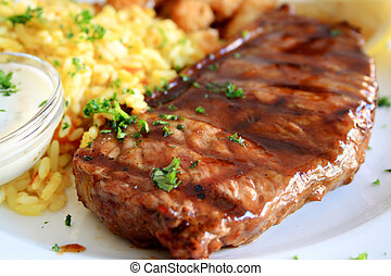 steak - a juicy steak with rice