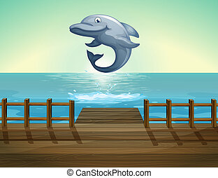 Illustration of a jumping dolphin and sea port