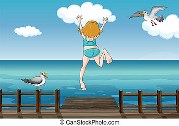 A jumping girl in a water