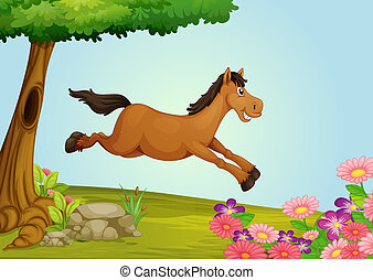 A jumping horse - Illustration of a jumping horse in a...