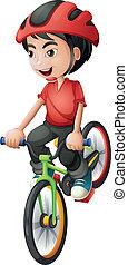 a, junge, reiten, seine, fahrrad