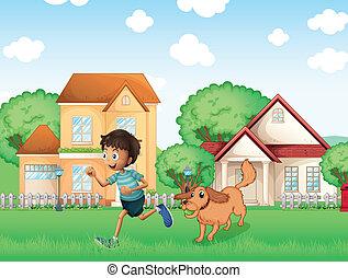 a, junge, spielende , mit, seine, hund