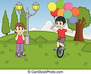 a, junge, spielende , unicycle, und, besitz