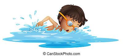 a, junger junge, schwimmender, mit, a, gelber ,...