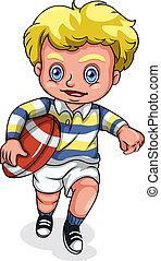 a, junger, kaukasier, junge, spielende , rugby, fußball