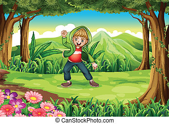 A jungle with a boy dancing