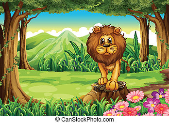 A jungle with a lion above the stump
