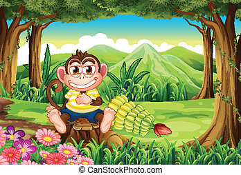 A jungle with a monkey above the stump