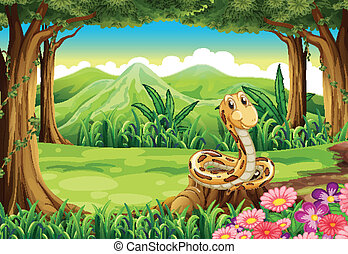 A jungle with a snake above the stump