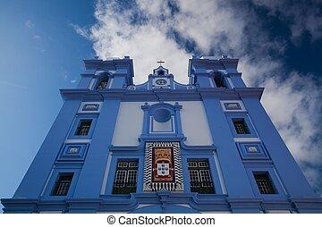 a, kék, templom