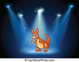 A kangaroo at the center of the stage with spotlights