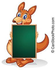 A kangaroo holding an empty blackboard