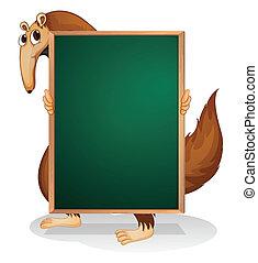 A kangaroo holding an empty board