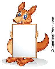A kangaroo holding an empty whiteboard