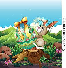a, kaninchen, und, a, groß, osterei, oben, der, stumpf