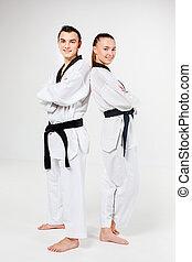 a, karate, leány, és, fiú, noha, fekete, felövez