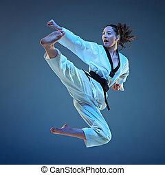 a, karate, leány, noha, black derékszíj