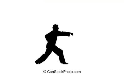 A karate or taekwondon a black kimono on a white background,...