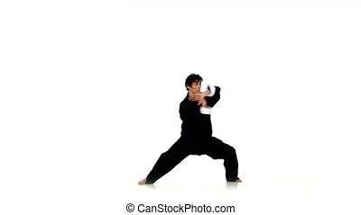 A karate in a black kimono on a white background, clarity and smooth motion. wushu, kungfu, sambo, aikido, martial arts