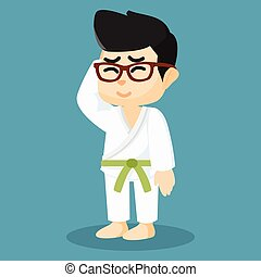 A karate player was wearing a green