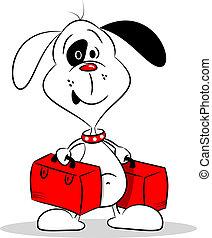 a, karikatur, hund, und, koffer
