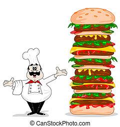 a, karikatur, küchenchef, mit, cheeseburger