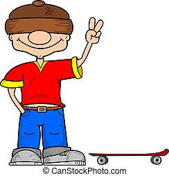 a, karikatur, skater, junge