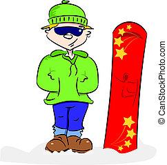 a, karikatur, snowboarder